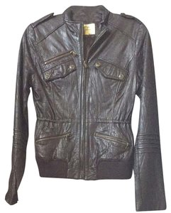 Guess Fall Fashion Marciano Leather Moto Leather Dark Brown Jacket