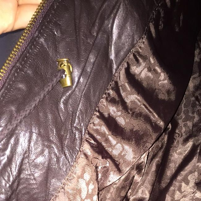 Guess Fall Fashion Marciano 100% Leather Moto Leather Dark Brown Jacket