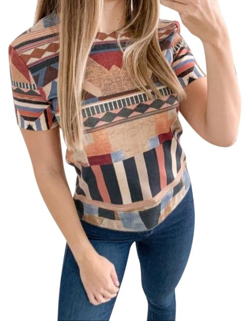 Item - Tan Red Aztec Print Cropped In Brown Blouse Size 4 (S)
