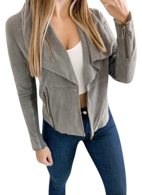 Item - Gray Paper Weight Suede Biker In Jacket Size 2 (XS)