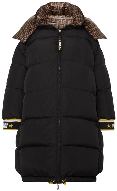 Item - Black Reversible Printed Quilted Shell Down Jacket Coat Size 8 (M)