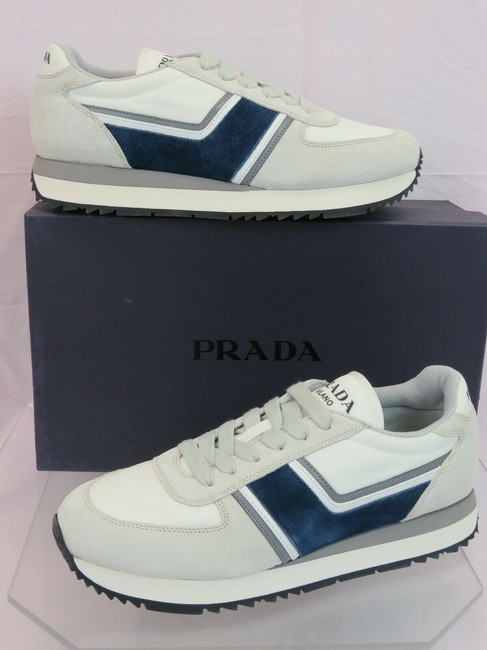Item - Gray 4e3538 Navy Suede White Nylon Leather Logo Lace Up Sneakers 7 Shoes