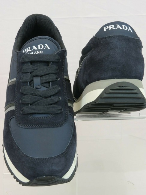 Item - Blue 4e3538 Navy Suede Nylon Leather Logo Lace Up Sneakers 11 / Us 12 Shoes