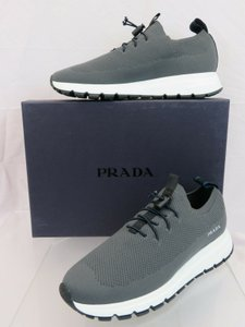 Prada Gray 4s3491 Sport Knit Mesh Logo Lazy No Tie Lace Up Sneakers 8 / Us 9 Shoes