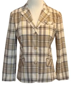 Theory Plaid Beige Plaid Blazer