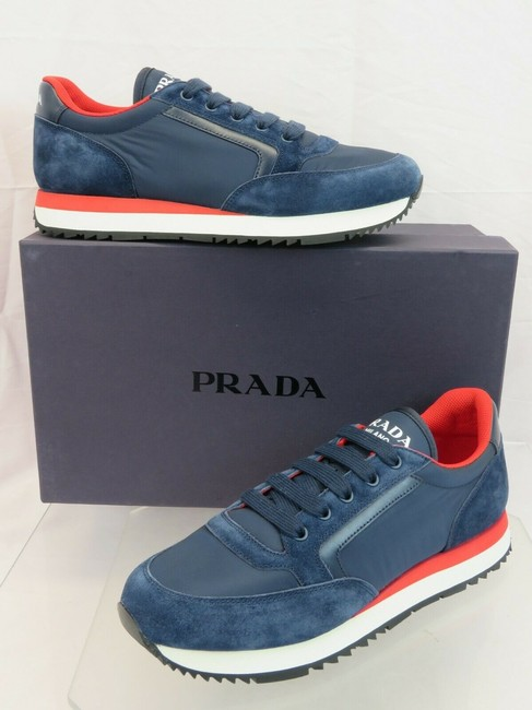 Item - Blue 4e3537 Navy Suede Nylon Black Leather Logo Lace Up Sneakers 7.5 Us 8.5 Shoes