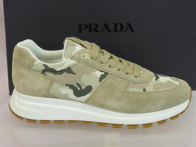Item - Beige 4e3518 Military Desert Suede Camo Nylon Logo Lace Up Sneakers 7.5 Shoes