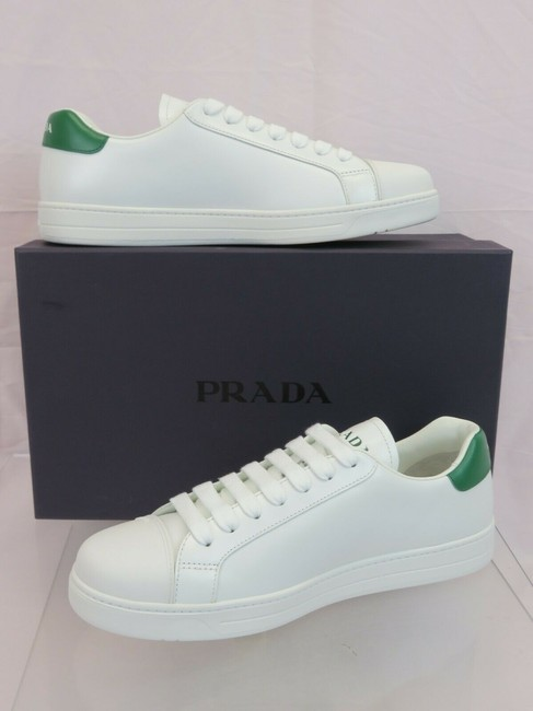 Item - White 4e3539 Leather Green Logo Cap Toe Lace Up Sneakers 7 / Us 8 Shoes