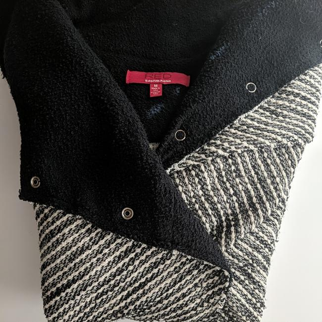 Item - Black White and Silver Tweed Moto-style Cardigan Size 8 (M)