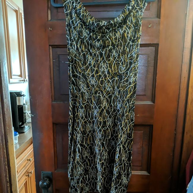 Item - Black with A Print That Is Brown Gold and White Cowl Neck Mid-length Work/Office Dress Size 6 (S)