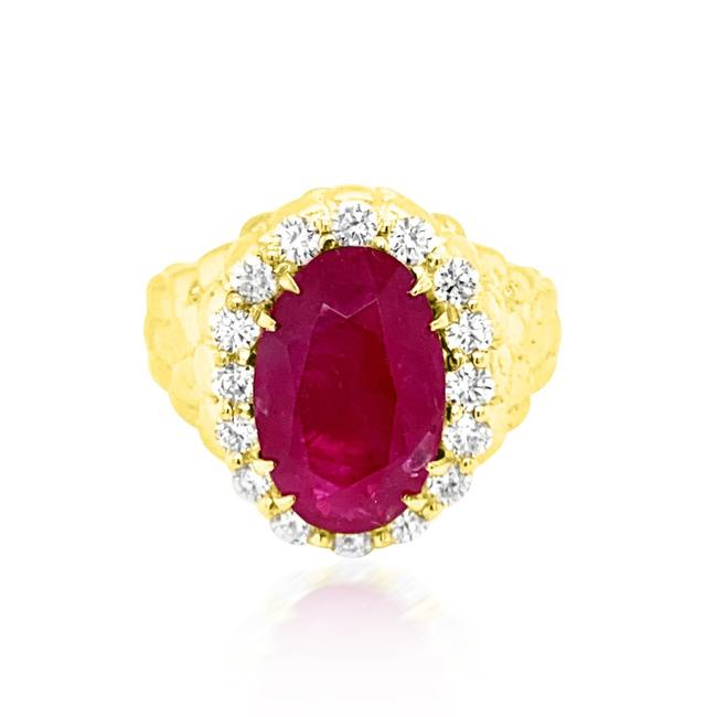 Item - Red Gia 6.68ct Natural Burma No Heat Ruby 18k Yellow Gold Ring
