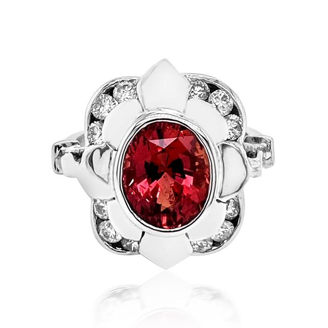Item - Red 3.63ct Padparadscha Sapphire 14k White Gold Ring