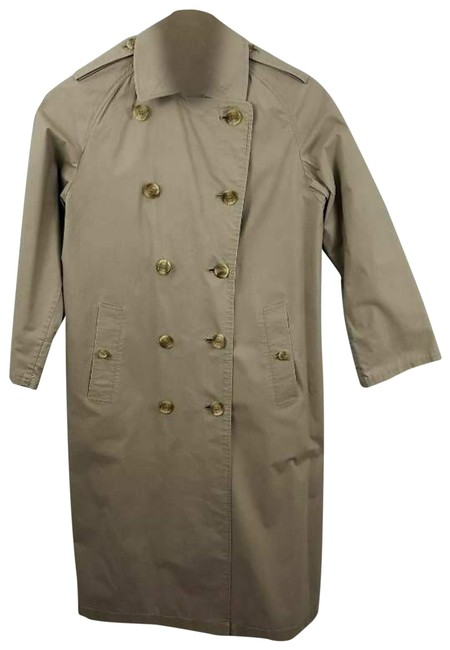 Item - Tan Vtg Trench Coat Double Breasted Tall Overcoat Beige Jacket Size 8 (M)
