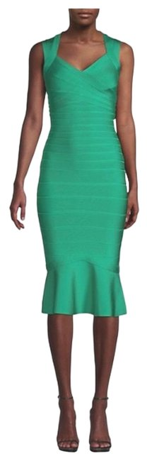 Item - Green Flounce Bandage Mid-length Night Out Dress Size 4 (S)