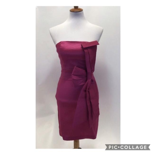 Item - Pink Strapless Satin Vertical Bow Mid-length Cocktail Dress Size 6 (S)