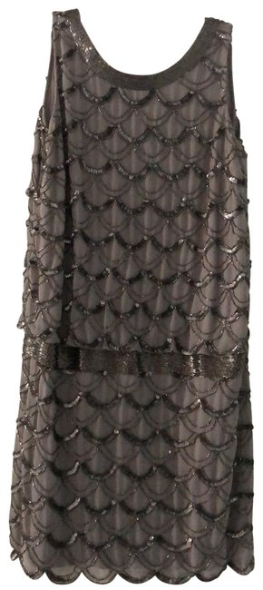 Item - Grey Evening Sequin Short Cocktail Dress Size Petite 6 (S)