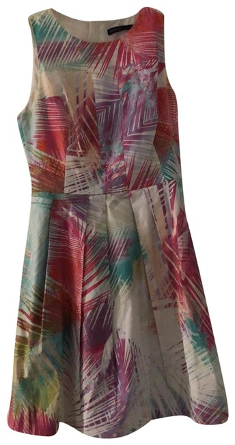 Item - White Pink Blue Orange Tropical Print Short Work/Office Dress Size 6 (S)