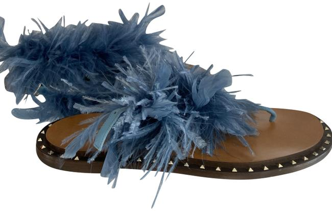 Item - Blue W Studded Edge Leather W/Feathered Straps Sandals Size EU 39 (Approx. US 9) Regular (M, B)