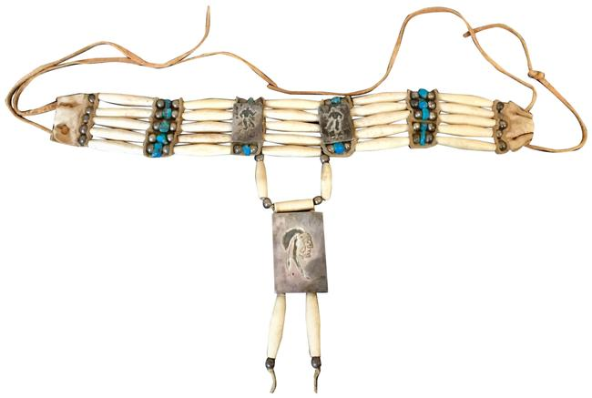 Item - Cream Turquoise Silver Vintage Native American Bone Leather Choker Necklace