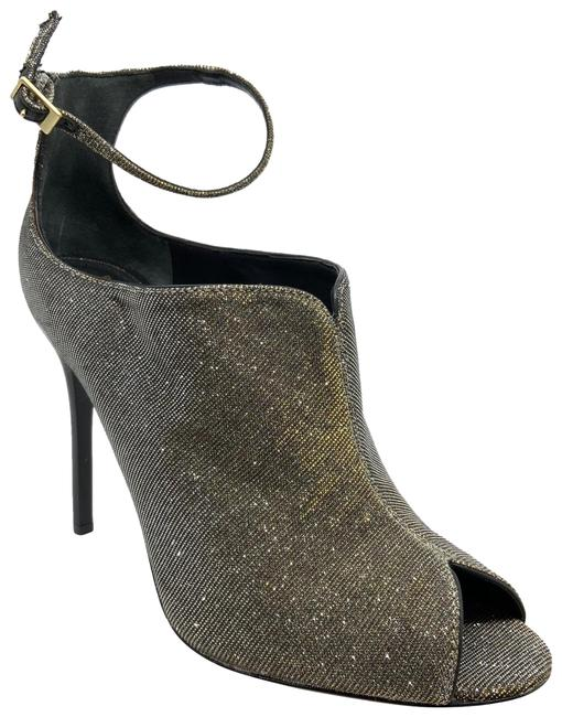 Item - Silver/Gold Silver/Gold Glitter Peep Toe Ankle Strap Bootiesk Pumps Size US 9.5 Regular (M, B)