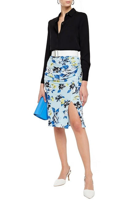 Item - Blue Dvf Willa Ruched Floral-print Stretch-mesh Pencil Skirt Size 12 (L, 32, 33)