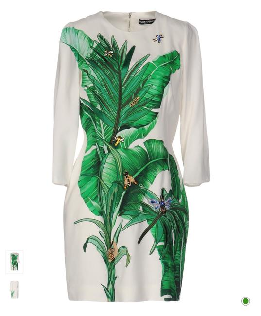 Item - White and Green Banana Leaf Jewel Short Cocktail Dress Size 6 (S)