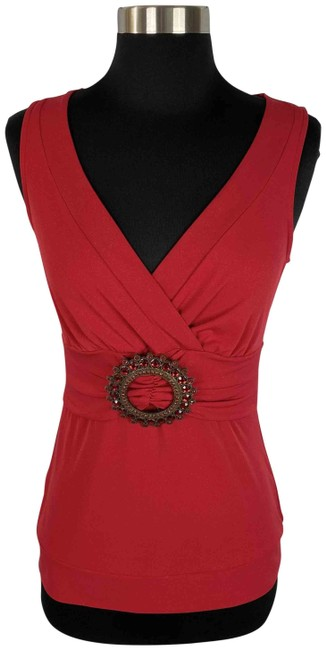 Item - Red Gold Flecked Sleeveless Blouse Size 4 (S)