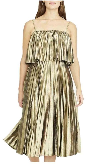 Item - Gold Lamé Mid-length Night Out Dress Size 4 (S)