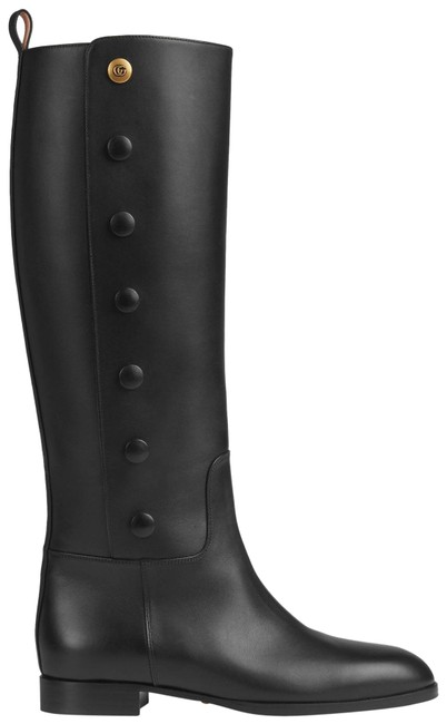 Item - Black 598170 Double G Buttons Leather Knee Boots/Booties Size EU 35.5 (Approx. US 5.5) Regular (M, B)