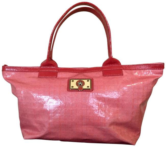 Item - Patent Leather Turnlock Pink Coated Canvas Tote