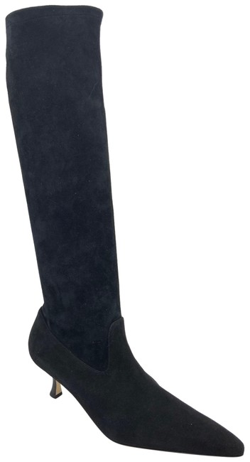 Item - Black Stretch Suede Pascalare Pull On Kitten Heel Pumps Boots/Booties Size US 8.5 Regular (M, B)