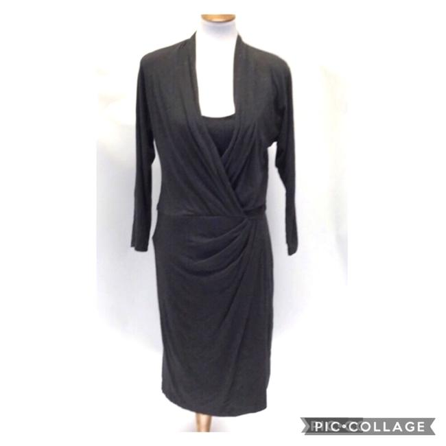 Item - Gray Faux Wrap Built In Tank Mid-length Work/Office Dress Size 8 (M)