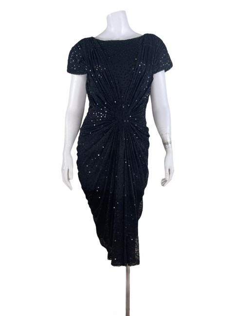 Item - Black Sequins Draped Evening Mid-length Night Out Dress Size 8 (M)