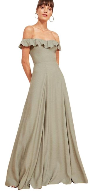 Item - Seafoam Verbena Off-shoulder Ruffle Maxi Long Formal Dress Size 0 (XS)