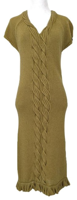 Item - Olive Green Winter Sweater Mid-length Short Casual Dress Size 10 (M)