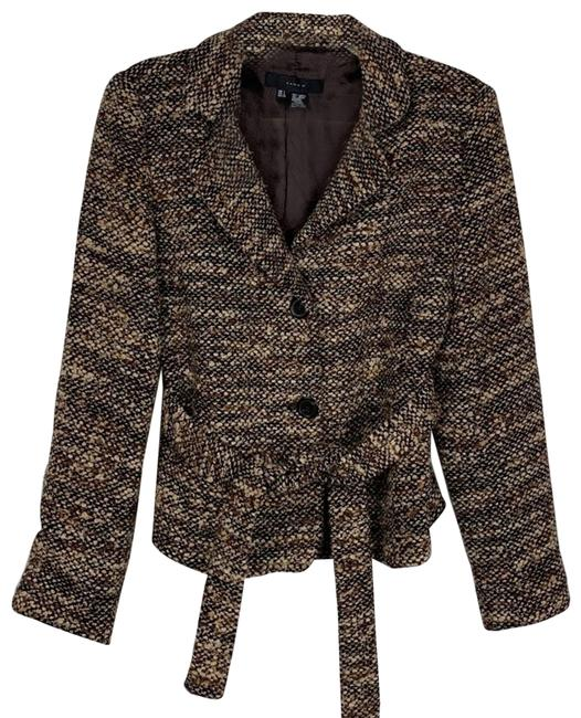 Item - Brown Tweed Belted Large Coat Size 12 (L)