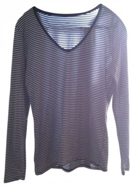 Preload https://item3.tradesy.com/images/mossimo-supply-co-blue-and-white-long-sleeved-striped-v-neck-tissue-tee-shirt-size-14-l-28367-0-0.jpg?width=400&height=650
