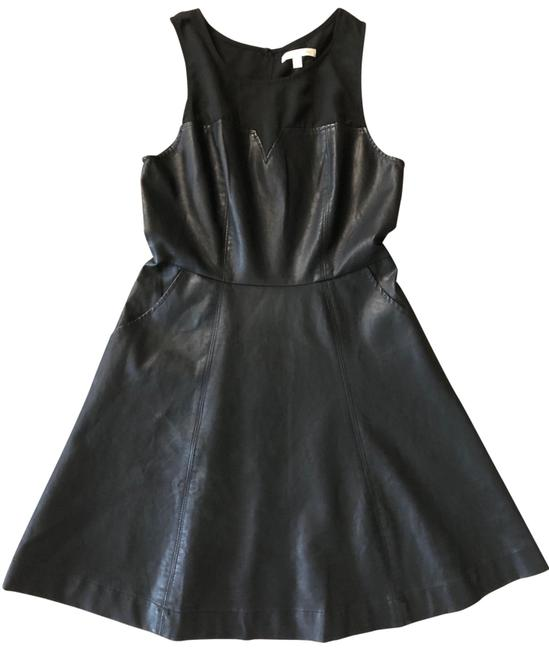 Item - Black Anthropology Faux Leather Mid-length Short Casual Dress Size 8 (M)