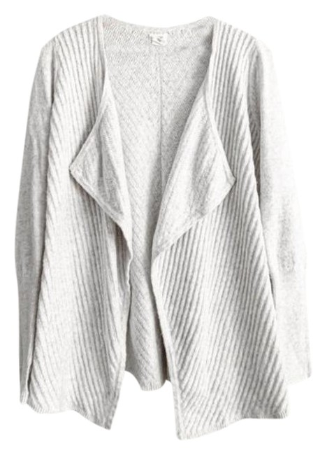 Item - White Silver Knit Open Front Cardigan Size 4 (S)