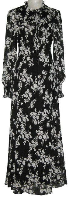 Item - Black Cream Floral Chiffon Prairie Long Casual Maxi Dress Size 14 (L)