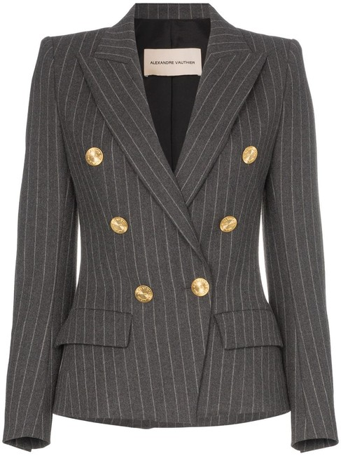 Item - Gray 2019 Double Breasted Pinstripe Blazer Size 8 (M)