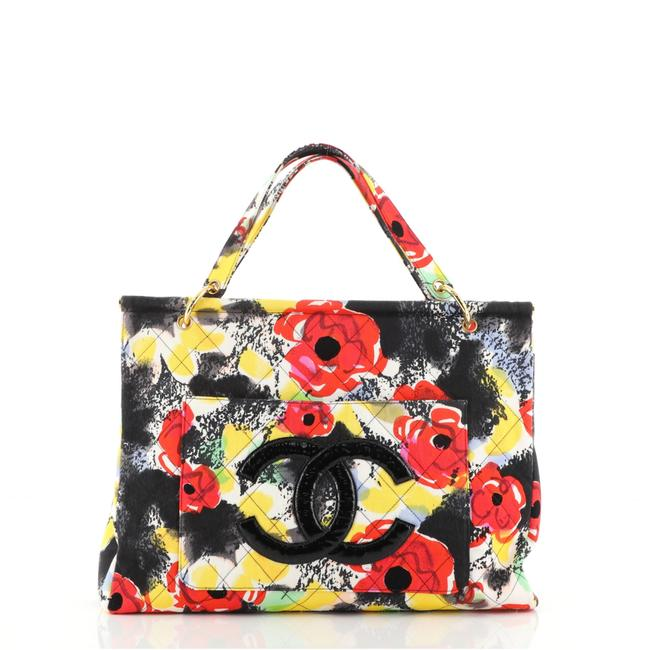Item - Vintage Quilted Large Multi Color Print Canvas Tote