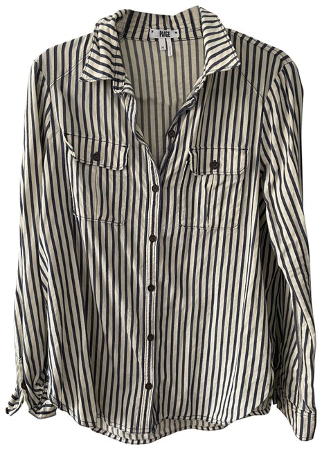 Item - Blue and Ivory Stripe Shirt Button-down Top Size 8 (M)