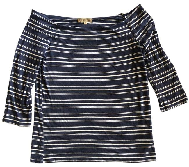 Item - Blue and White Striped Off The Shoulder Tunic Size 4 (S)