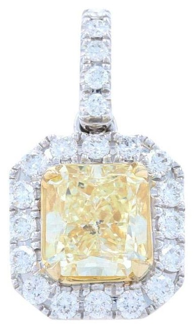 Wilson Brothers Jewelry White/Yellow Gold Fancy Light Diamond Halo Pendant - 14k Radiant Wilson Brothers Jewelry White/Yellow Gold Fancy Light Diamond Halo Pendant - 14k Radiant Image 1
