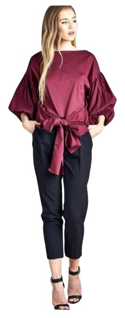 Item - Puff Sleeve Bow In Burgundy Blouse Size 4 (S)