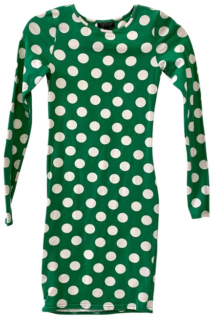 Item - Green And White Polka Dot Longsleeve Bodycon Short Casual Dress Size 2 (XS)