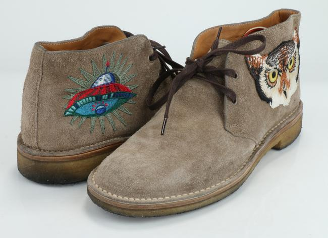Item - Brown Beige Suede with Owl and Ufo Embroided Ankle Boots Shoes