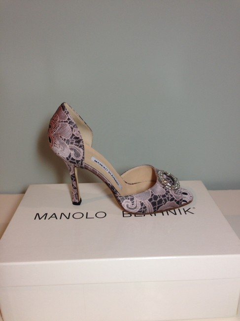 Manolo Blahnik Pink/ Black Satin Lace Peep Toe Pump with Crystal Top Formal Shoes Size EU 36 (Approx. US 6) Regular (M, B) Manolo Blahnik Pink/ Black Satin Lace Peep Toe Pump with Crystal Top Formal Shoes Size EU 36 (Approx. US 6) Regular (M, B) Image 2