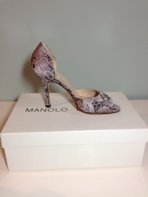 Manolo Blahnik Pink/ Black Satin Lace Peep Toe Pump with Crystal Top Formal Shoes Size EU 36 (Approx. US 6) Regular (M, B) Manolo Blahnik Pink/ Black Satin Lace Peep Toe Pump with Crystal Top Formal Shoes Size EU 36 (Approx. US 6) Regular (M, B) Image 3